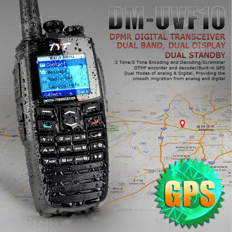 100% Asli TYT DM-UVF10 Dual Band VHF UHF DPMR Walkie Talkie dengan Fungsi GPS Terbina dalam