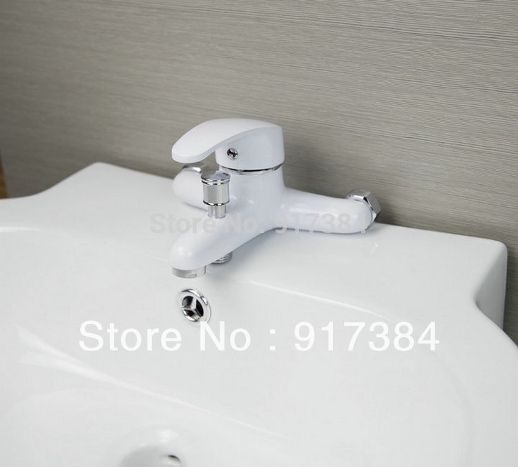 White Spray Painting Widespread Bathroom Bathtub <font><b>Roman</b></font> <font><b>Tub</b></font> Filler Faucet with Hand Shower SetJN92423