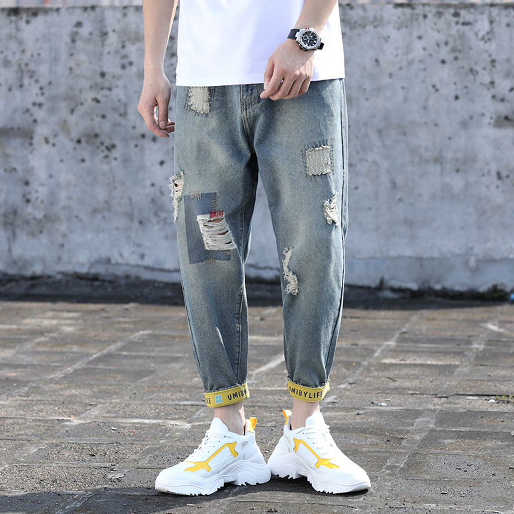 Summer Men's Jeans Pants Fashion 2019 Casual Ankle Length Fold Straight Hole Loose Streetwear Ripped Jeans For Men Pencil Pants(China)