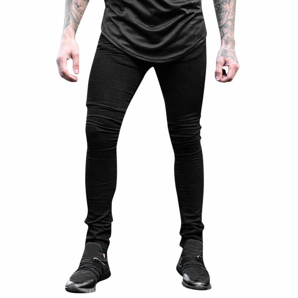 Męskie spodnie jeansowe na co dzień, bawełniane, zapinane na zamek, spodnie robocze, spodnie jeansowe, streetwear, męskie, porwane jeansy # a25