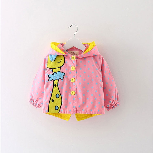 Baby girl wear clothes Spring long-sleeved windbreaker jacket outerwear for Baby girls clothing deer Animal Brand Jacket coats