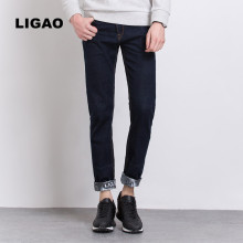 LIGAO 2017 Men's Jeans Trendy Printed Mens Jeans Slim Straight Pants Trousers Male Denim blue Folding Cuffs Pant Vaqueros