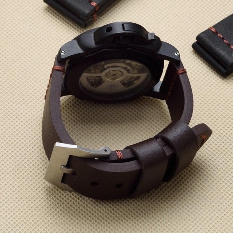 TJP 22mm 24mm 26mm Marron Noir D'épaisseur Vintage en cuir Véritable Bracelet Remplacer PAM PAM111 Big Pilot montre Bracelet