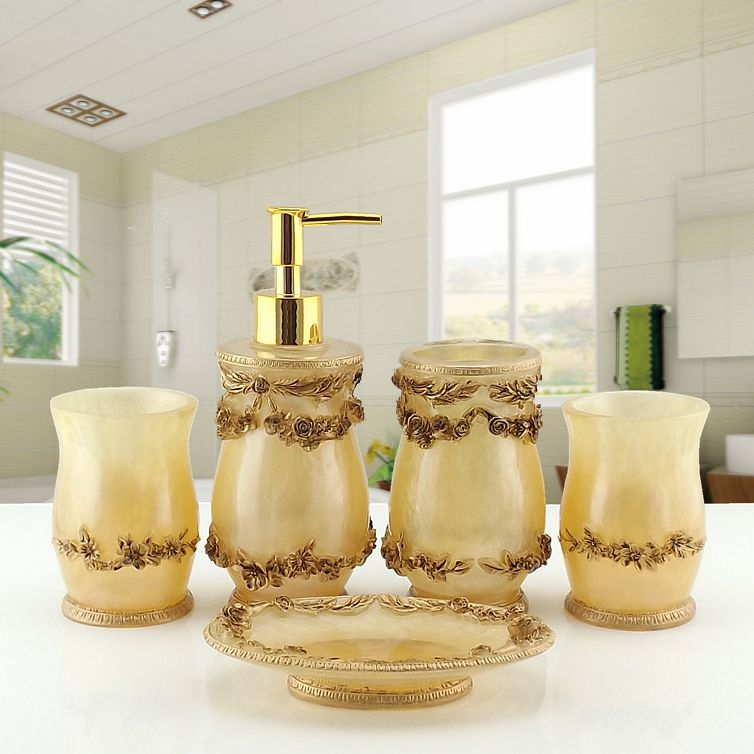2016 vente limitée Banheiro Lemei haut de gamme résine européenne cinq pièces salle de bains lavage brosse à dents costume ameublement Shukoubei ensemble