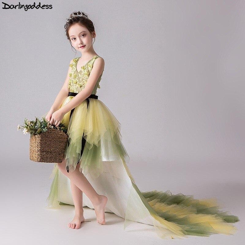 Élégant dentelle Pageant robes pour les filles Glitz court avant Long dos robes de demoiselle d'honneur pour les mariages enfants robe de soirée