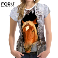 FORUDESIGNS Cool Crazy Horse Print Women T Shirt Summer Short Sleeve 3D Top Tees Sim Fit