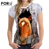 FORUDESIGNS Cool Crazy Horse Print Women T Shirt Summer Short Sleeve 3D Top Tees Sim Fit