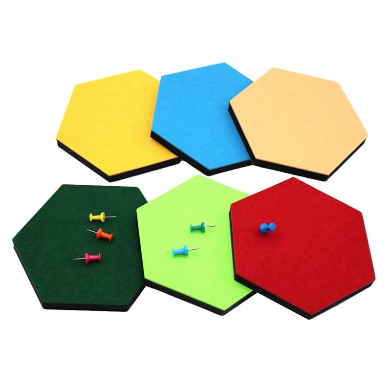 HOT-6 Pack Hexagon Felt Pin Board Self Adhesive Bulletin Memo Photo Cork Boards Colorful Foam Wall Decorative Tiles With 6 Pus