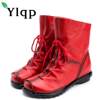 Ylqp Brand 2017 Winter Women Large Size Genuine Leather Boots Fashion Casual Short Boots Female Warm