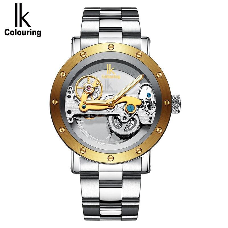 IK colouring wristwatch men's automatic winding ultimate skeleton night light steam punk stainless steel belt bmechanical type