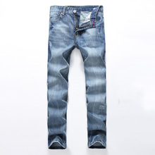 High Quality Mens Brand Jeans Blue Color Printed Jean Ripped Button Jeans Casual Pants Quality Cotton