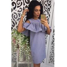 Summer Women Causal Striped Dress Ruffles Cold Shoulder Sexy Bodycon Summer Short Mini Dress Plus Size LJ9215M