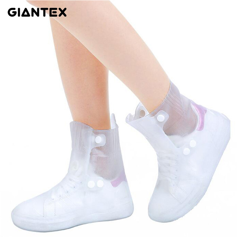 GIANTEX Men Women's Rain Waterproof Flat Ankle Boots Cover Heels Boots Shoes Covers Thicker Non-slip Platform Rain Boots U1840