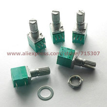 PHISCALE 10pcs Single linear rotary / seal / amplifier potentiometers with switch B10K 15mm actuator length 5pin(China)