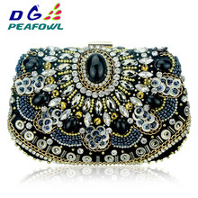 Vintage Embroidery Women Handbags Beaded Chain Accessory Metal Day Clutches Party Wedding Evening Bags One Side Diamonds Purse