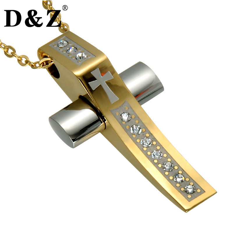 D&Z Gold Color Murano Christian Cross Pendant & Necklace Paving CZ Stainless Steel Crucifix Necklaces for Christian Jewelry