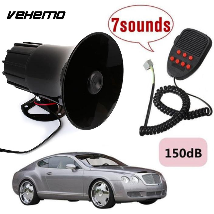 Vehemo Durable Plastic Super Loud 100W 12V 7 Sounds Motorcycle Car Van Truck Speaker Loud Siren Horn 150db With MIC Automobile