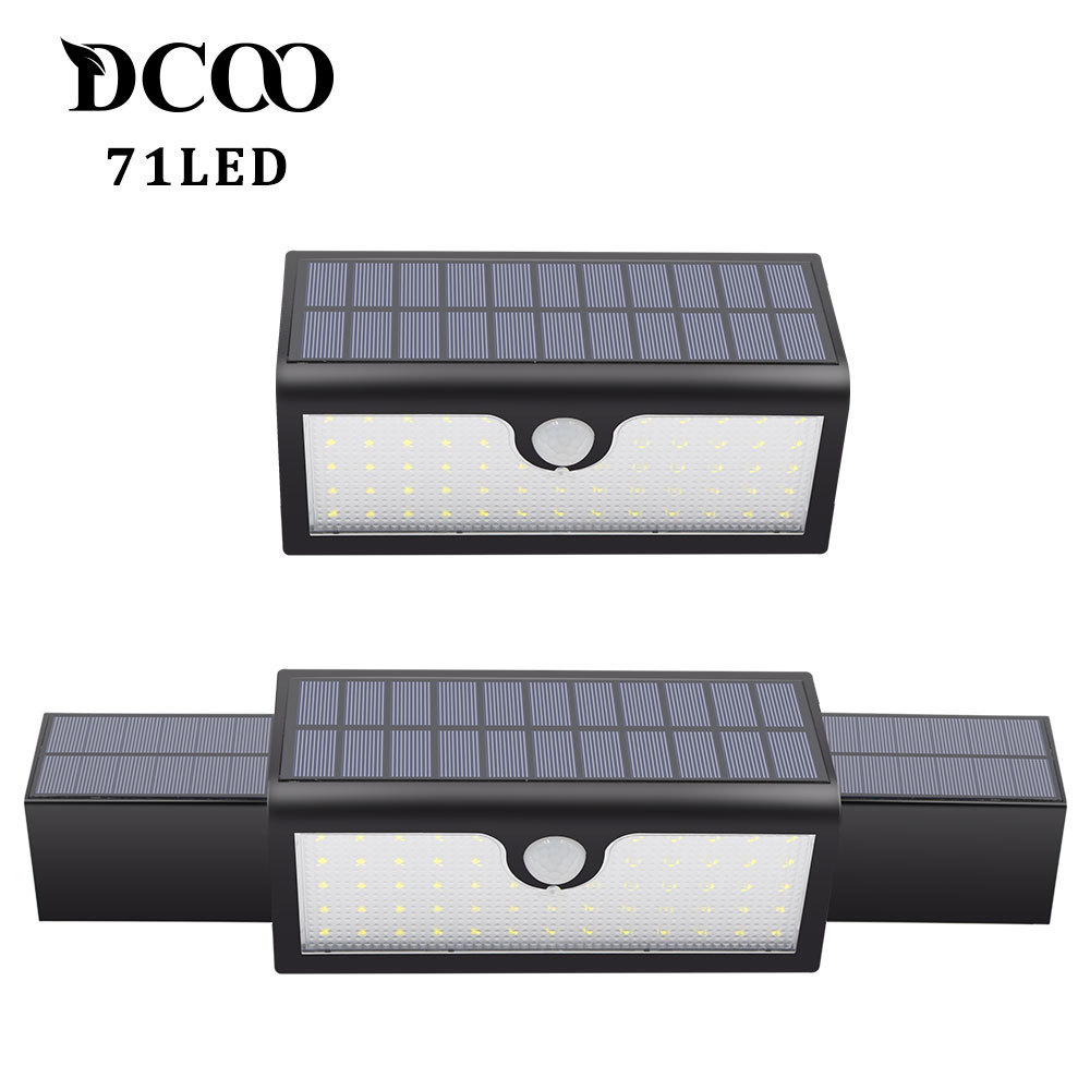 Solar Lights 71LEDs 3-in-1 Bright Security Motion Sensor Outdoor Solar Lamp 3 Modes Garden Patio Wall Pathway Street Lights