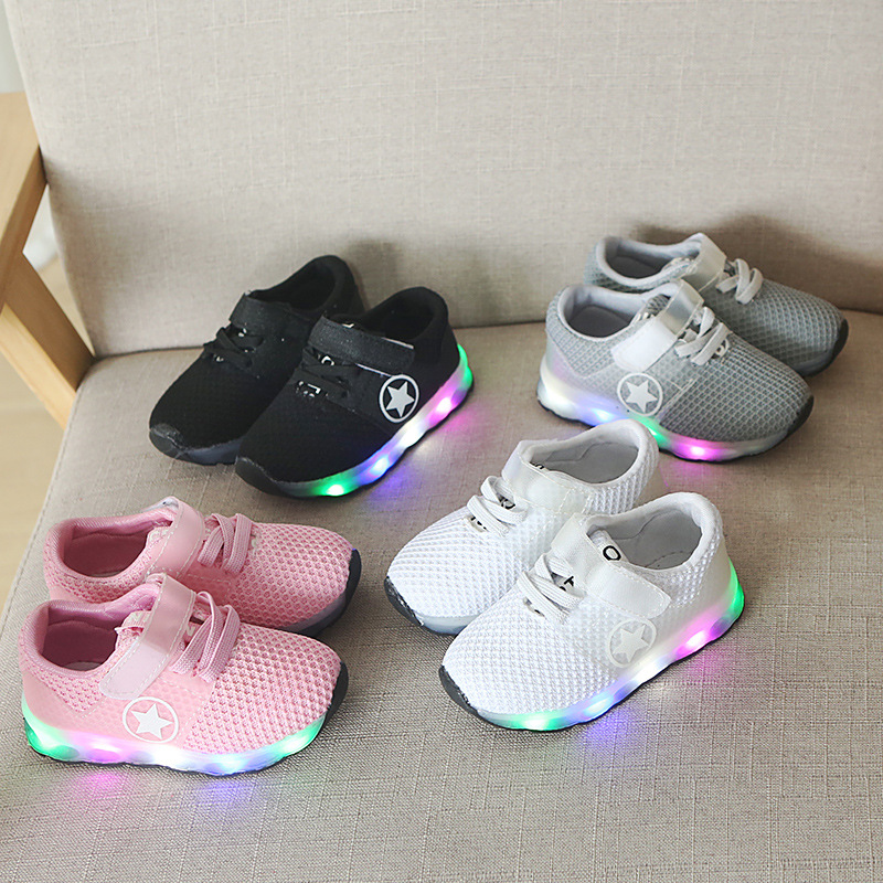 2018 high quality fashion princess girls boys shoes beautiful lighting up kids shoes Lovely cute children casual sneakers