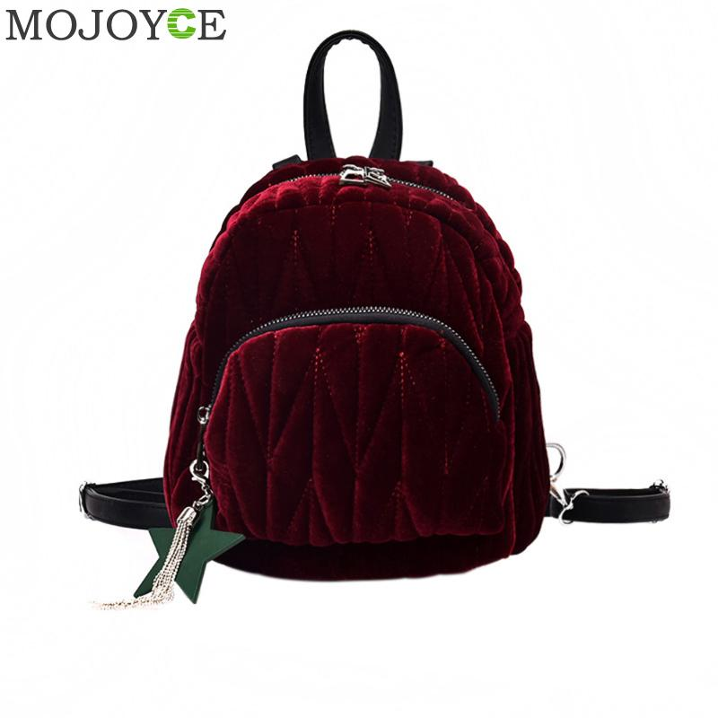 Women Mini Velvet Backpack Preppy Style Travel Rucksack School Bag for Teenage Girls Autumn Backpacks Female Mochila Escolar New women back bag high quality mochila new 2017 women s backpack for teenage girls waterproof nylon preppy style school bags