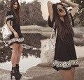 Novas Mulheres Vestido de Verão O-pescoço Curto-de mangas compridas Estilo Nacional Impresso Roupas Femininas Casual Vestidos Mini Vestido Boho Vintage Preto