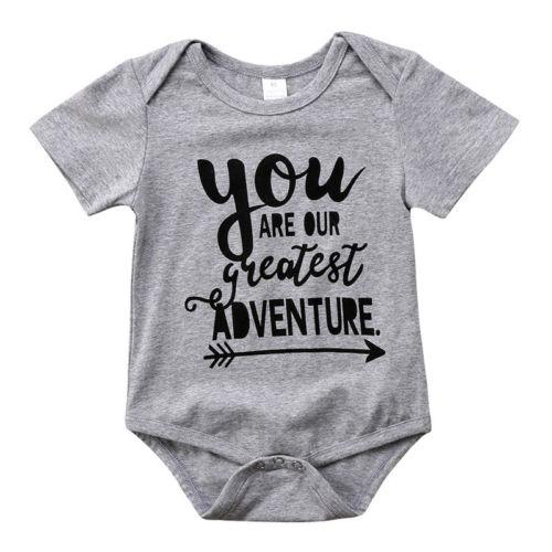 601f1cb21f555 Cute Newborn Baby Boys Girls Gray Bodysuit Letter Print cotton Jumpsuit  Outfit Clothes Short Sleeve Fashion Summer Bodysuit 0-2T