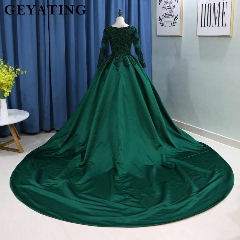 c5db7968e92 ... Emerald Green Lace Long Sleeves Muslim Wedding Dress 2019 Ball Gown  Princess Bride Dresses Islamic Satin