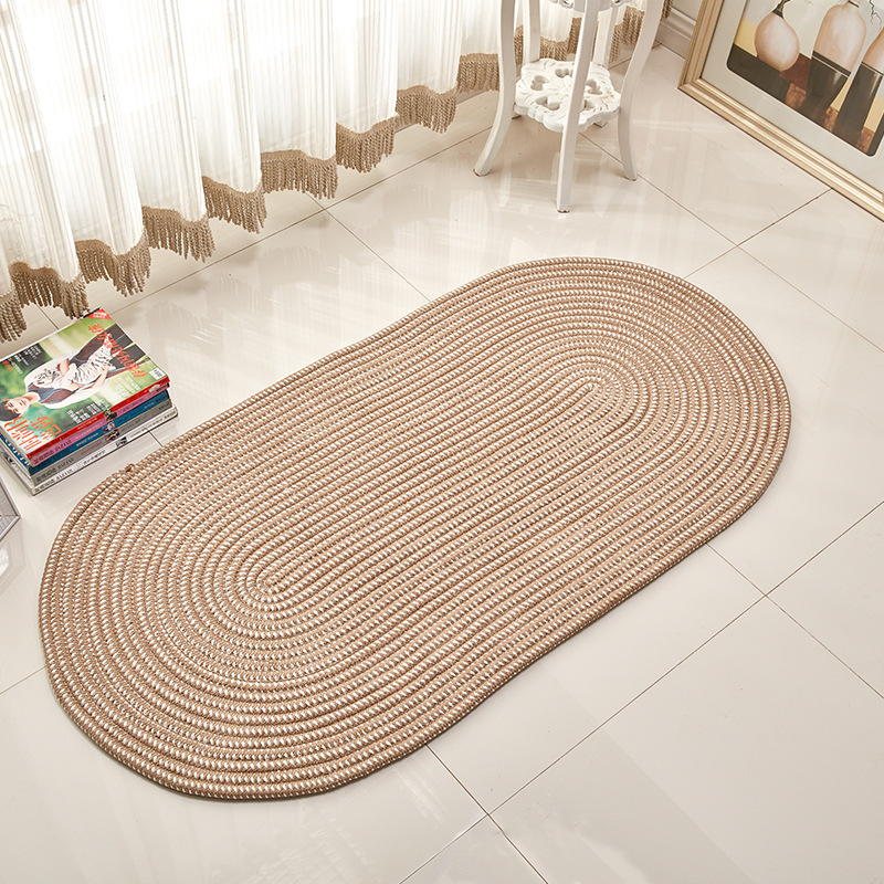 Us 14 22 10 Off Custom Size Round Brown Hand Knotted Rug Home Rugs Nordic Woven Floor Mats Geometric Designed Living Room Tatami Straw Carpet In