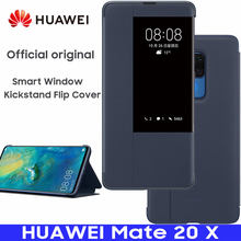 HUAWEI MATE 20 X Case 100% Official Original Smart View Kickstand Cover HUAWEI MATE20 X Case Mirror Window Flip Leather Cover(China)