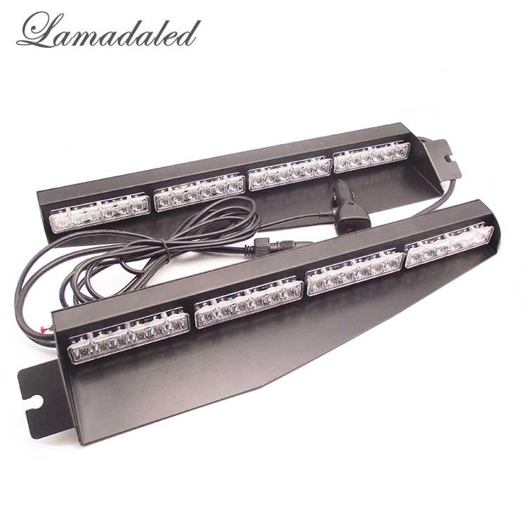 Lamadaled DC12V 2pcs 24W 45cm red blue led police car visor strobe lights auto vehicle split mount deck dash led warning lamp