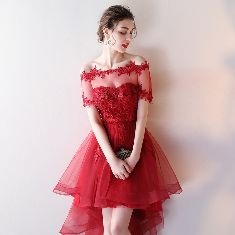 New Charming High Low Prom Dresses Hi Lo Evening Gown Off Shoulder Burgundy Formal Party Dresses