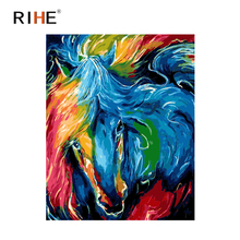 RIHE Abstract Horse Diy Painting By Numbers Colorful Animal Oil On Canvas Hand Painted Cuadros Decoracion Acrylic Paint