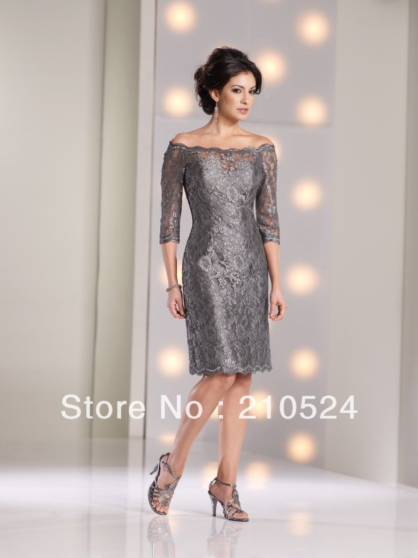 dcda1eb545 Knee Length Mother Of The Bride Dresses Off-shoulder 1 2 Sleeves Sheath  Elegant Zipper Back Grey Color Cheap Selling