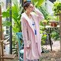 Grlbobra 2016 novo inverno flanela roupão de banho das mulheres do joelho-comprimento com capuz sweet home wear encantador dos desenhos animados manga comprida robes s0039
