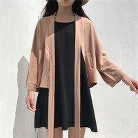 Japanse Kimono Casual Effen Kleur Zijdeachtige Doek Gemengde Stof Kimono Kleding Zwart Wit Lint Vest Kimono Femme S