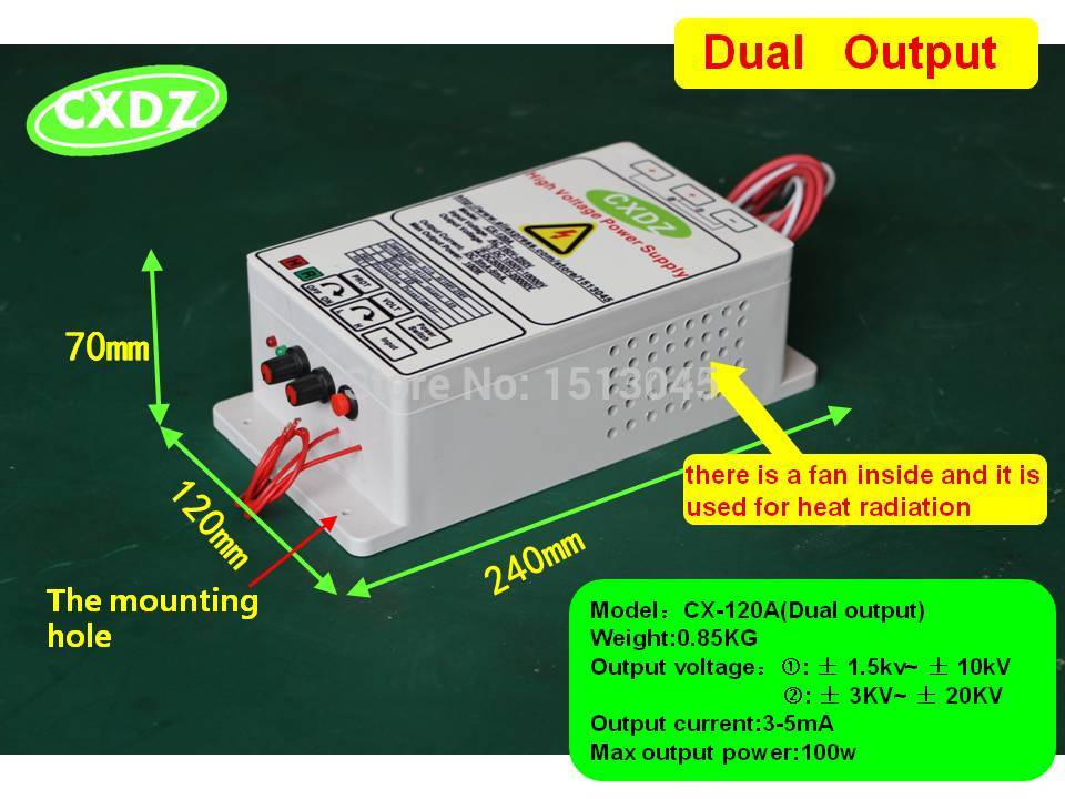 HIGH VOLTAGE POWER SUPPLY WITH DUAL OUTPUT 10KV or 10kv 20kv for electrostatic air cleaner