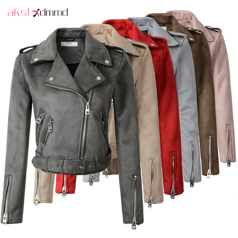AKSLXDMMD 2019 New Arrival Women Autumn Winter   Suede   Faux   Leather   Jackets Lady Fashion Matte Motorcycle Coat Biker Outwear YR084