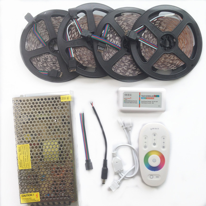 Hot 10M 15M 20M 5050 RGB LED Strip 60leds/m Non Waterproof diode tape +RF Touch Remote RGB Controller +AC110/220V DC12V Adapter led light rgb 5050 led strip ip20 non waterproof flexible diode tape 2 4g rf remote rgb controller power adapter 20m 15m 10m 5m