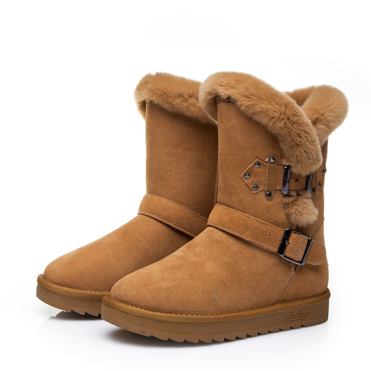 fashion high quality 100 genuine leather shearling font b women b font snow boots sheepskin warm