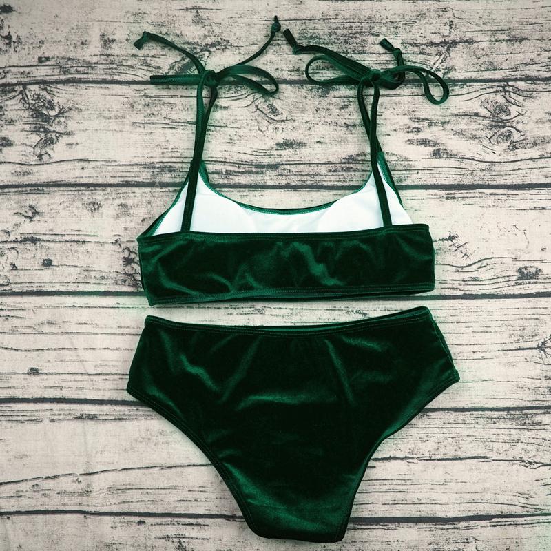 Sexy Brazilian Bikini 17 Blue Velvet Swimwear Women Swimsuit Push up Biquini Halter Bikinis Set Bathing Suit Maillot De Bain 23