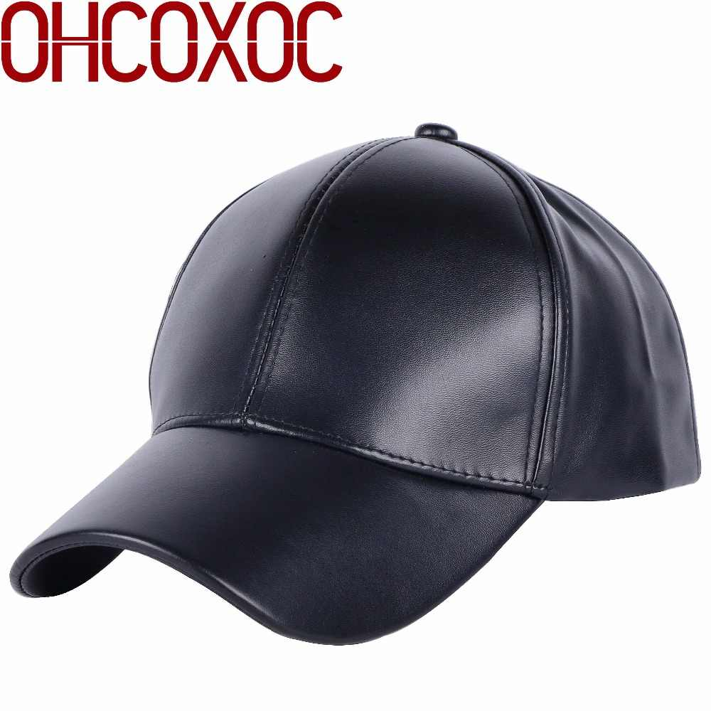 45819c528ca women men new cap solid casual Hat Good quality thick faux leather solid  color sports baseball