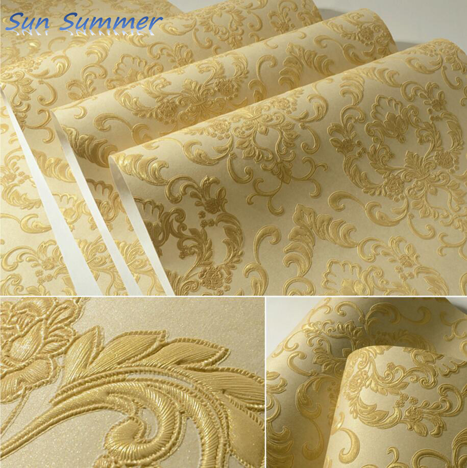 Gold fashion deep embossed 3d non-woven wallpaper bedroom tv background wall