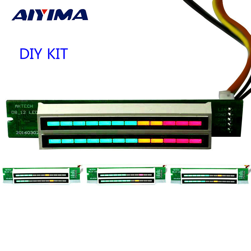Aiyima Mini Dual 12 Level indicator VU Meter Stereo Amplifier Board Adjustable light Speed Board With AGC Mode Diy KITS aiyima 5pcs 5v rgb led level indicator vu meter amplifier board diy mcu adjustable display pattern dual channel dual 24