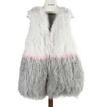 Real Fox Fur Coat Women Medium Long Gradual Color Natural Patchwork Mongolia Sheep Fur Vest Female Waistcoat Coats Vests Hot