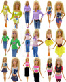 One Lot  = 5 Sets Randomly Pick Fashion Lady Outfit Fashion Wear Blouse Trousers Shorts Pants Skirt Clothes For Barbie Doll