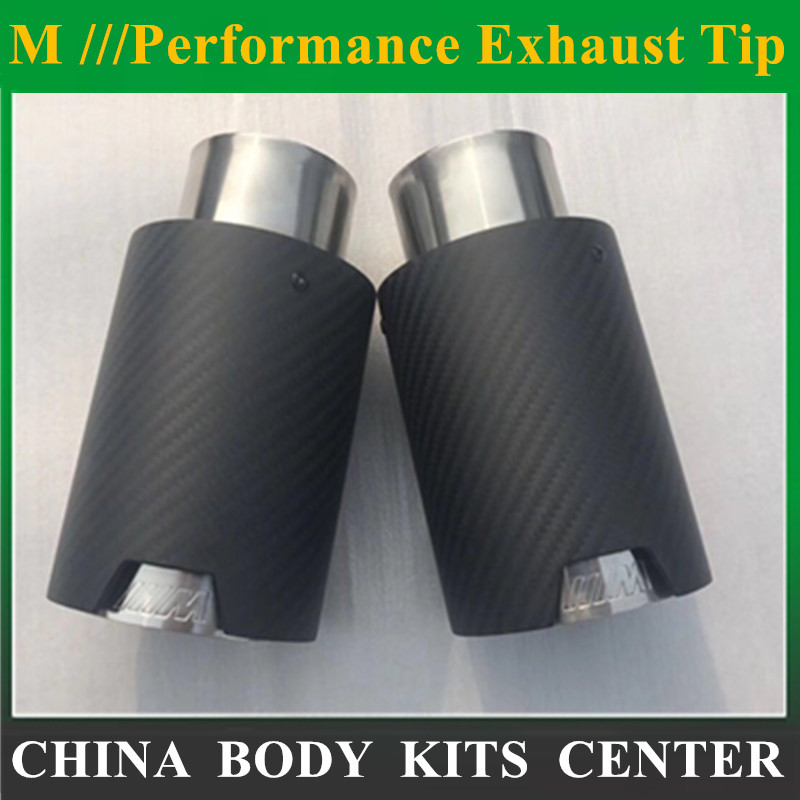 Car Styling M Label Car Akrapovic Carbon Fiber Muffler Tips Pipes For BMW Carbon Exhaust Tip muffler tip deep cut exhaust muffler tips for harley bagger touring pipes 4