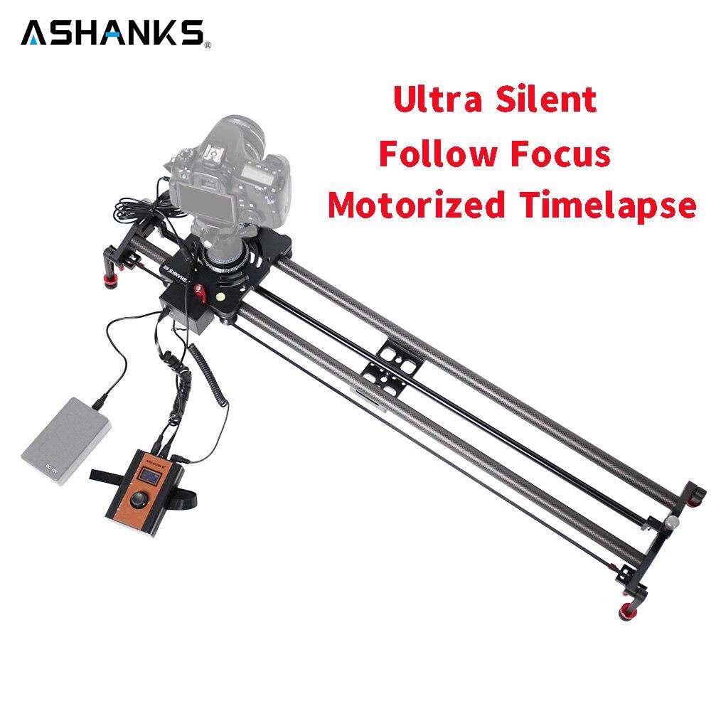 ASHANKS Stepper Motor motorizado Timelapse Video Slider siga Focus Rail carbono diapositiva para Control cámara DSLR
