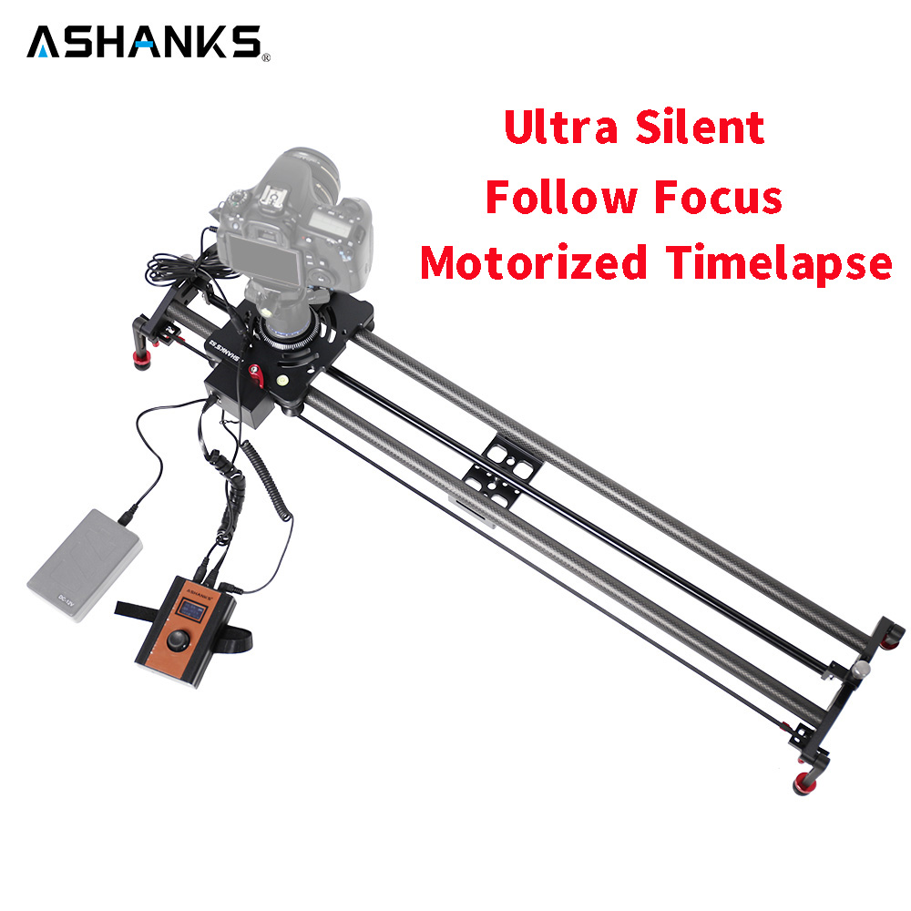Ashanks Motores paso a paso Motores ized vídeo timelapse slider Enfoque carril carbono diapositiva para control eléctrico DSLR Cámara Tiro