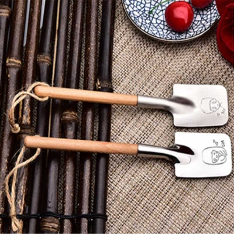 304 Stainless Steel Shovel Ice Cream Matt Spoon Dessert Scoop Fruit Cake Spoon Creative Couple Laser Engraving Cartoon 2pcs/set