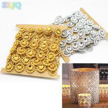 ZLJQ Gold Silver Plating Sunflower Bling Crystal Mesh Trim Wrap Cake Roll Rhinestone  Ribbons Wedding Decor Party Supplies 7D 27e6d5fbc445